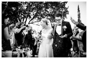 Fin de la cérémonie laïque, les mariés sortent