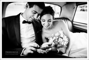 Départ des mariés pour la salle de réception