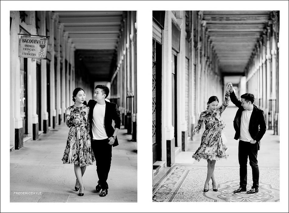 photos de couple dans les jardins du Palais Royal