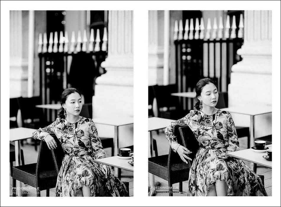 photos de femme chinoise à la terasse d'un café
