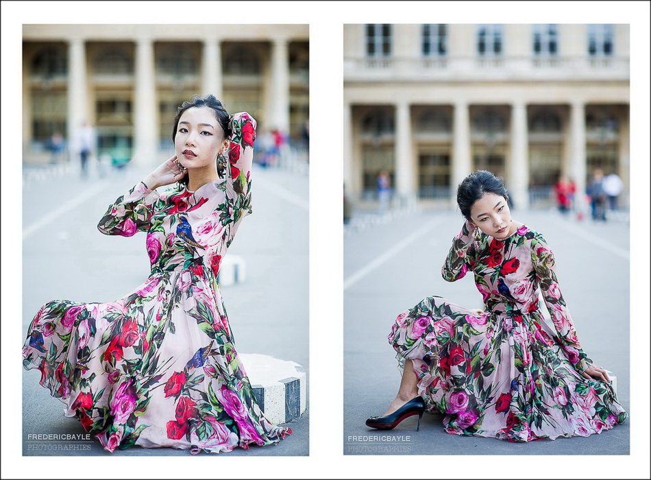 chinese woman avec a beautiful dress Dolce Gabanna