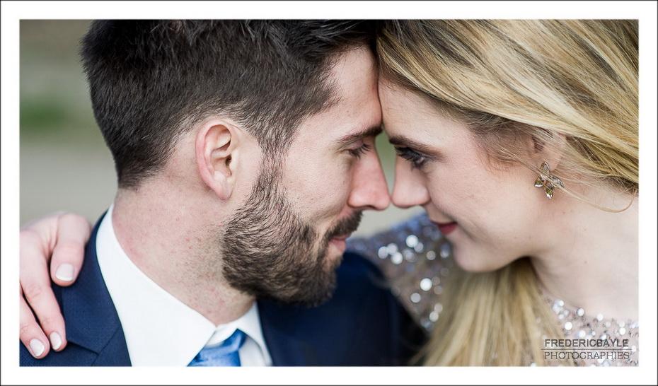reportage de mariage à Lyon, les mariés front contre front