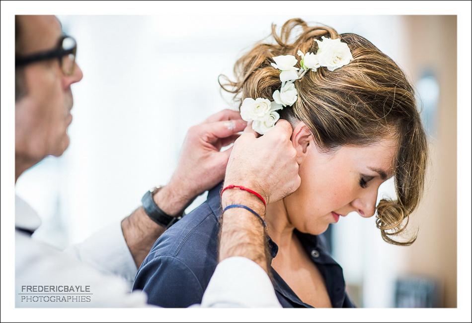 Préparatifs de la mariée à Paris, salon de coiffure Dessange