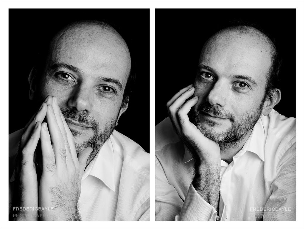 double portrait à la chemise blanche et en noir et blanc