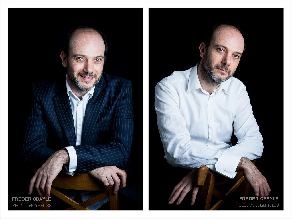 montage en diptyque de deux portraits corporate