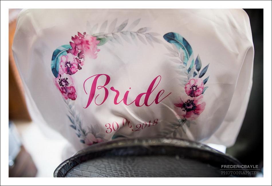 peignoir de la mariée avec la mention