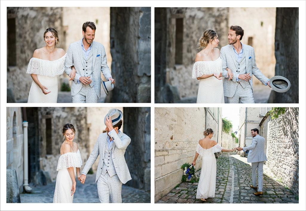 photos à 4 vues des mariés se promenant dans les rues de Senlis