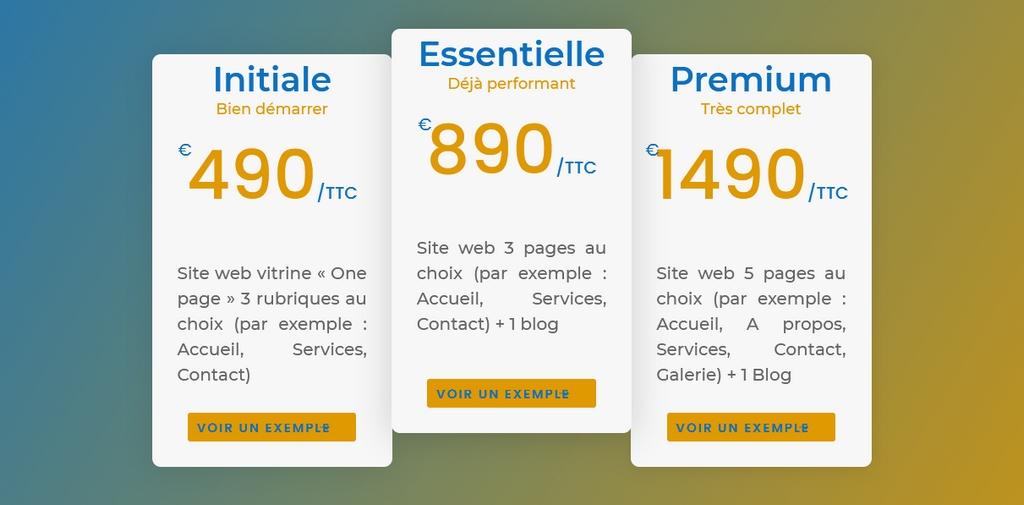 détails des tarifs de creation sites web